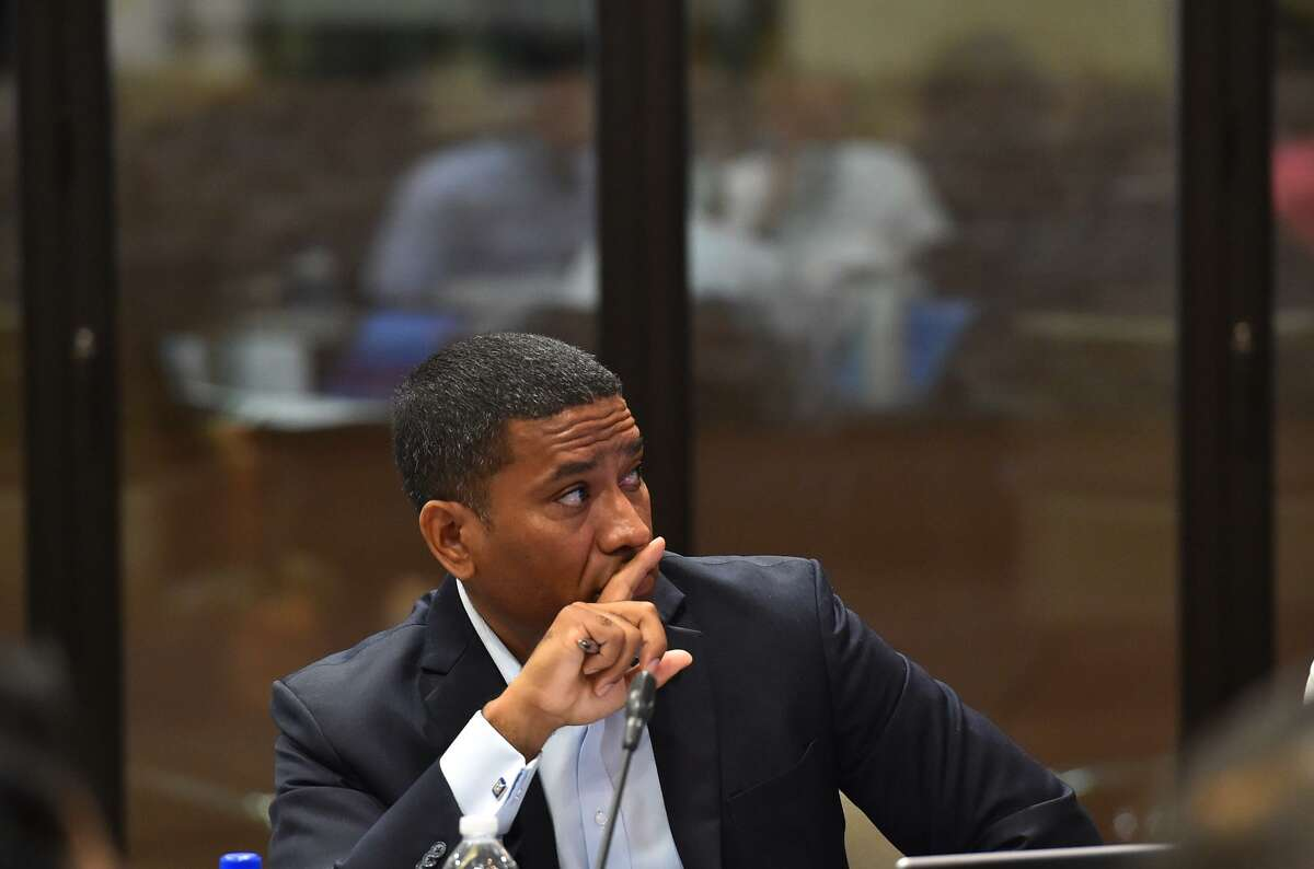 District 2 Councilman Cruz Shaw listens to a presentation during the City Council Fiscal year 2018 Budget Goal-Setting Session Wednesday in the Lonesome Dove Room of the Henry B. Gonzalez Convention Center.