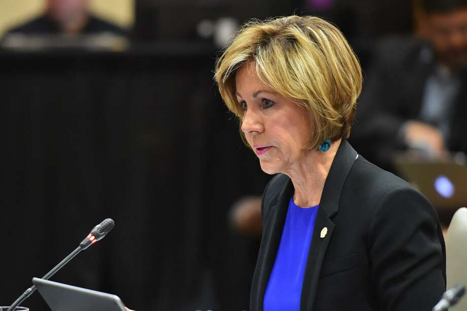 City Manager Sheryl Sculley speaks during the City Council Fiscal year 2018 Budget Goal-Setting Session Wednesday in the Lonesome Dove Room of the Henry B. Gonzalez Convention Center. Credit raters Moody's, Fitch and S&P just gave San Antonio top bond ratings for the eighth-consecutive year in a row. It's the largest city in the country to receive the coveted 'AAA' rating from all three major credit rating companies. Photo: Robin Jerstad /San Antonio Express News / ROBERT JERSTAD