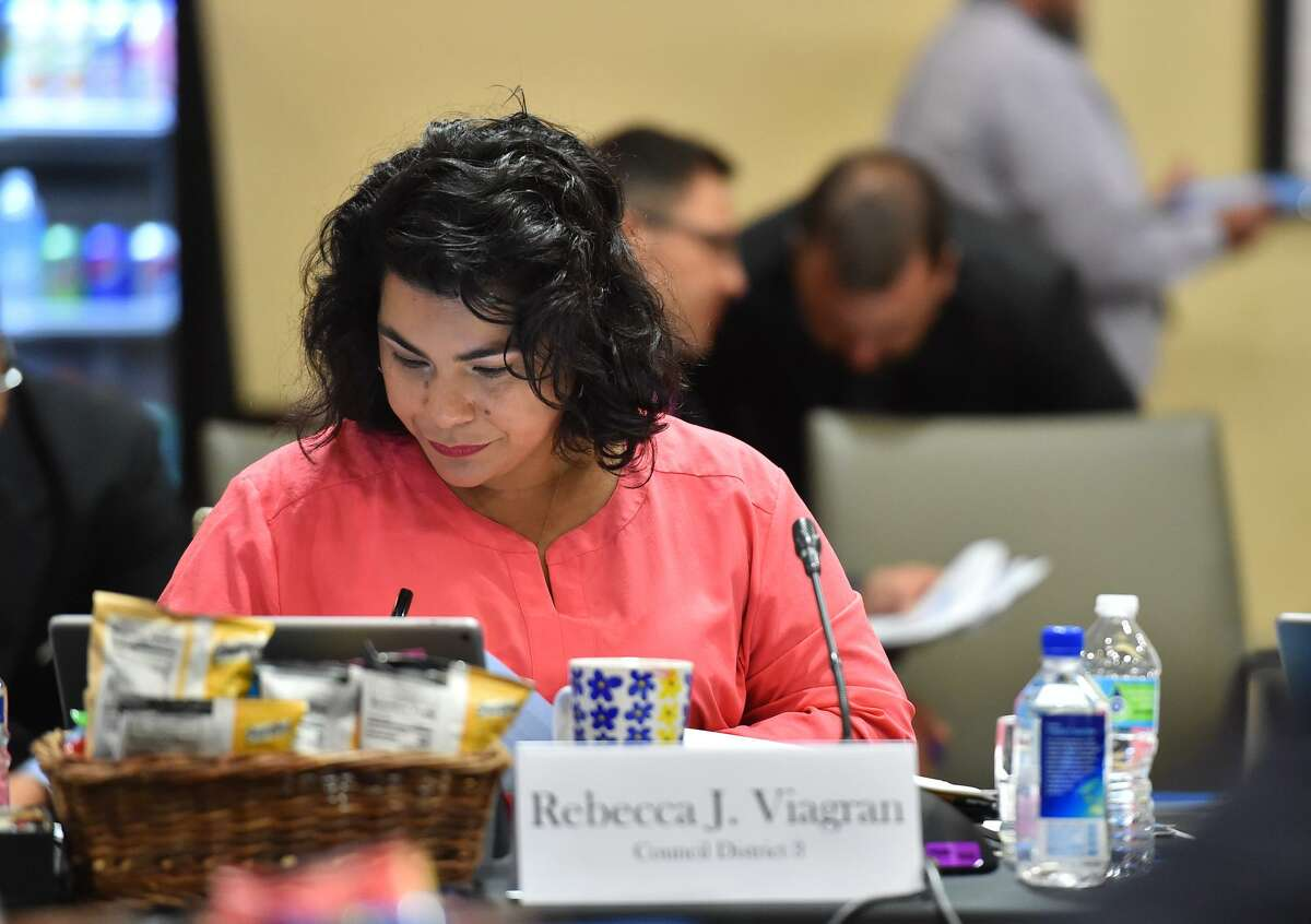District 3 Councilwoman Rebecca Viagran makes notes during the City Council Fiscal year 2018 Budget Goal-Setting Session Wednesday in the Lonesome Dove Room of the Henry B. Gonzalez Convention Center.