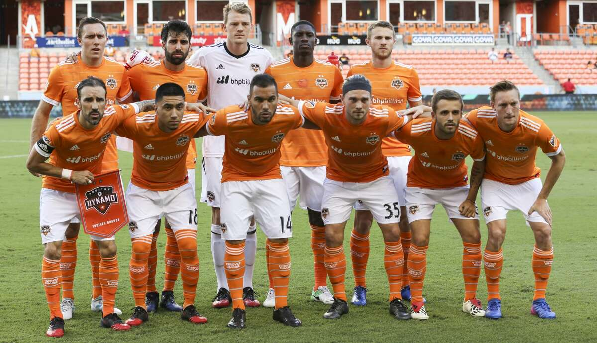 Houston Dynamo starting XI pose for a photo before the team taking on Sporting Kansas City for the Lamar Hunt U.S. Open Cut Round of 16 game at BBVA Compass Stadium Wednesday, June 28, 2017, in Houston. ( Yi-Chin Lee / Houston Chronicle )