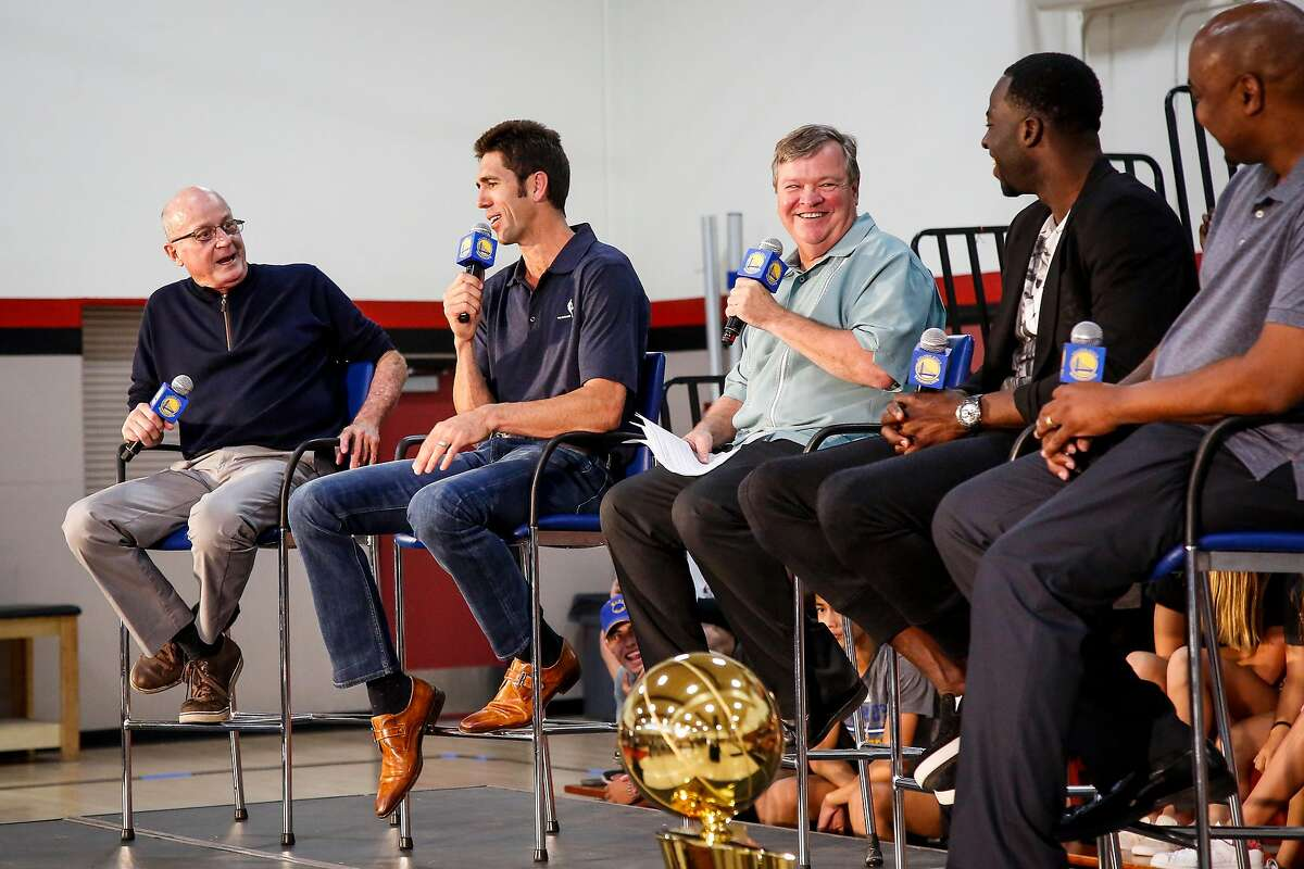 Jeff Koury, far left, joins former player Bob Myers, general manger of the Golden State Warriors, and Golden State's Draymond Green, second from right, during a 2017 ceremony at Monte Vista High School in Danville after Green was named the NBA's Defensive Player of the Year and Myers its Executive of the Year.