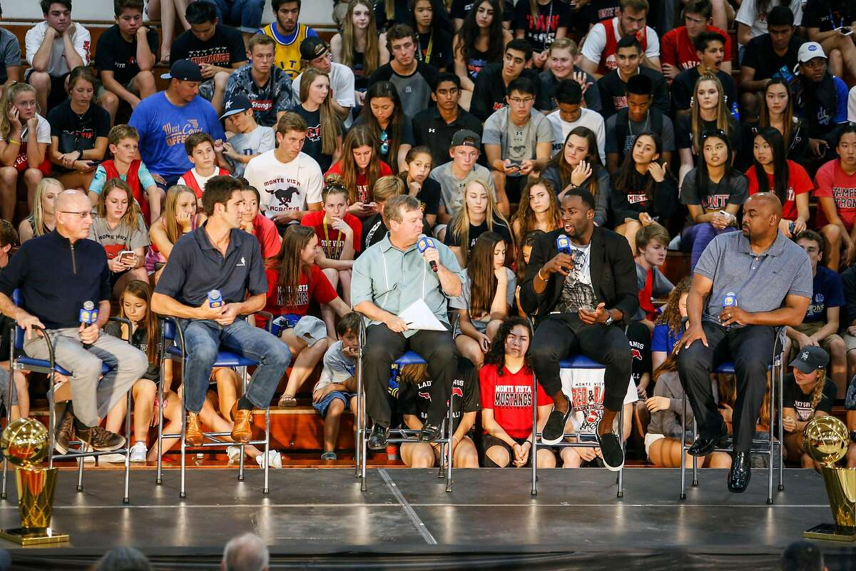 Bob Myers, general manger of the Golden State Warriors, and Draymond Green speak with Tim Roye, sports announcer, and their high school coaches during a news conference in the gym of Monte Vista High School, Myer's alma mater, in Danville on Wednesday, June 28, 2017. Monday Draymond Green was announced Defensive Player of the Year and Bob Myers was announced the Executive of the Year by the NBA.