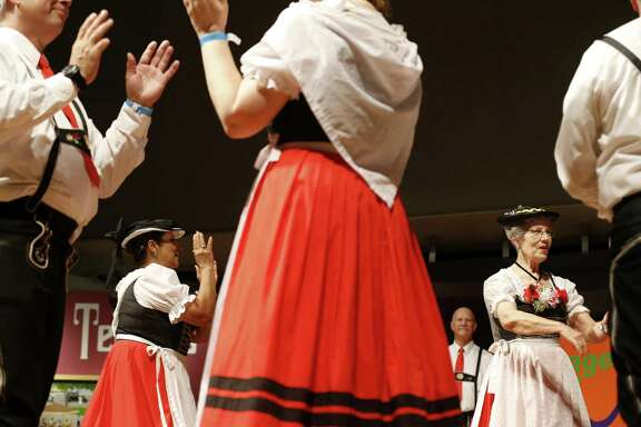 Members of Der Deutsche Volkstanzverein von San Antonio perform June 11 during the 46th annual Texas Folklife Festival at the University of Texas at San Antonio's Institute of Texan Cultures.
