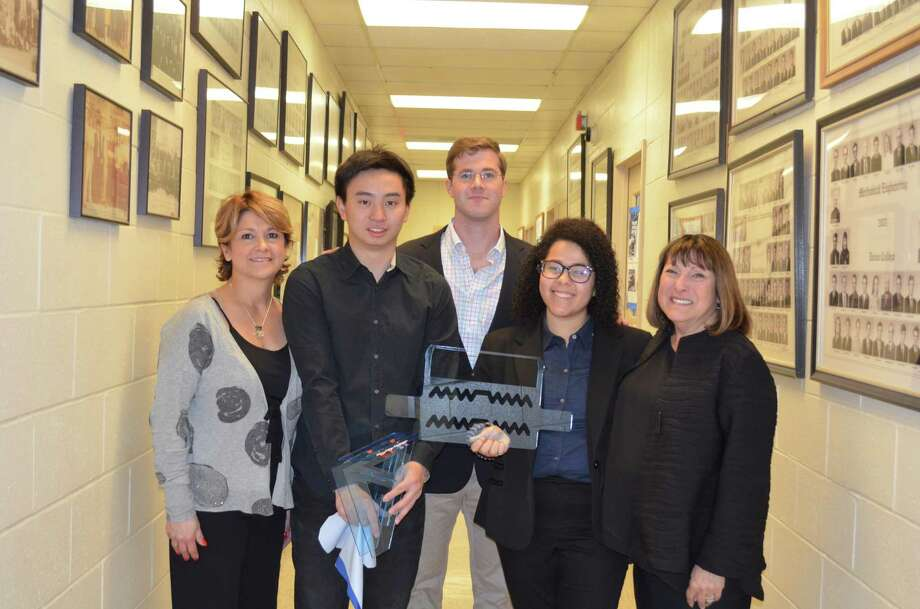 "From left: Pine Ridge Industries' Business Development Leader Valerie Andreoli poses with Union College students Lingzhi ""Owen"" Zhang, James Hawkins and Raquel Paramo, and Sandra Beck, CEO of Tidy Tots. (Photo courtesty of Caroline Boardman, Buzz Media Solutions)"