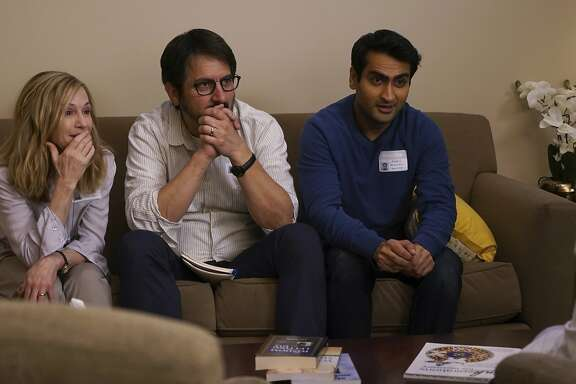 "This image released by Lionsgate shows Holly Hunter, from left, Ray Romano and Kumail Nanjiani in a scene from, ""The Big Sick.""  (Nicole Rivelli/Lionsgate via AP)"