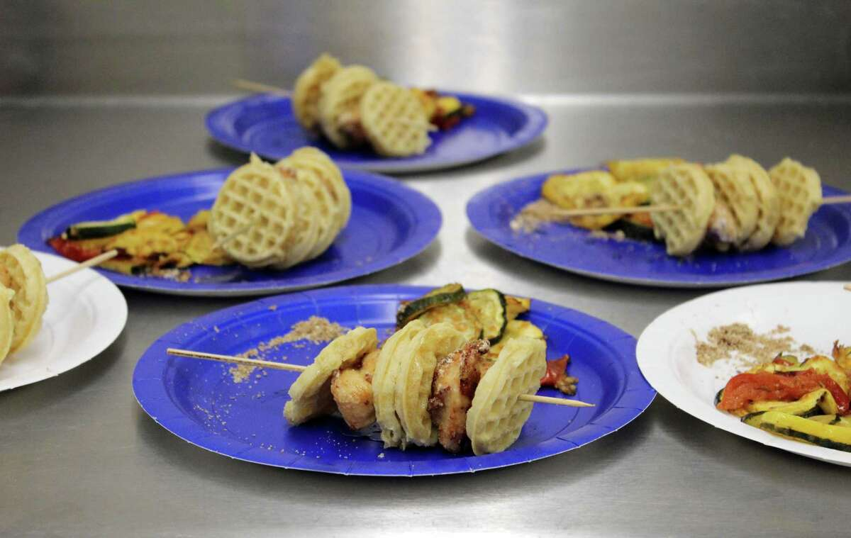 Children from grades 2-5 made chicken and waffle sandwiches and roasted summer veggies with Parmesan and thyme for lunch on Wednesday, June 28, 2017, during the first week of summer classes at Wilton Continuing Education.