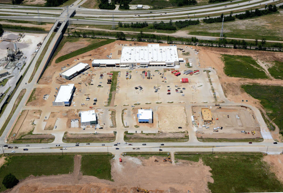 Regency Centers is developing the Market at Springwoods Village in partnership with CDC Houston. The Kroger-anchored shopping center will open in the fall at the Grand Parkway and Holzwarth Road. The photo shows construction as of May 5, 2017.