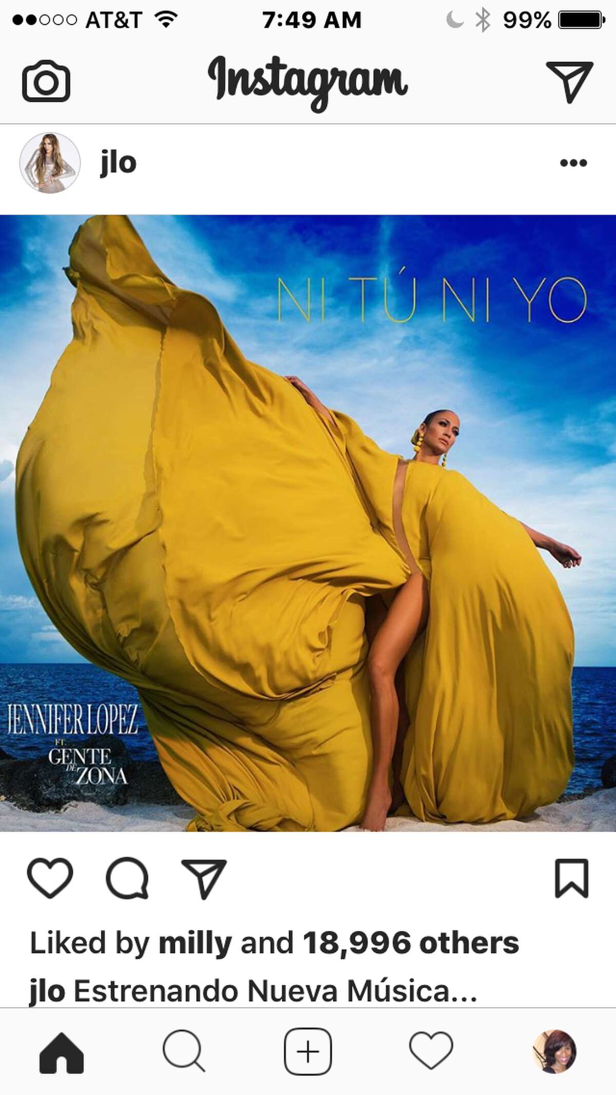 Jennifer Lopez posted this photo on Instagram taken from the photo shoot for her new single.