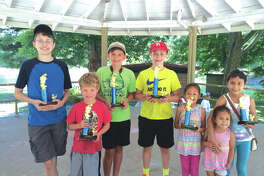 Edwardsville Fishing Derby winners are, from left: Tyler Oser, Titus Gray,  Hunter Stroemer, Morgan Oser, Andrea DeAvila, and Antonella DeAvile