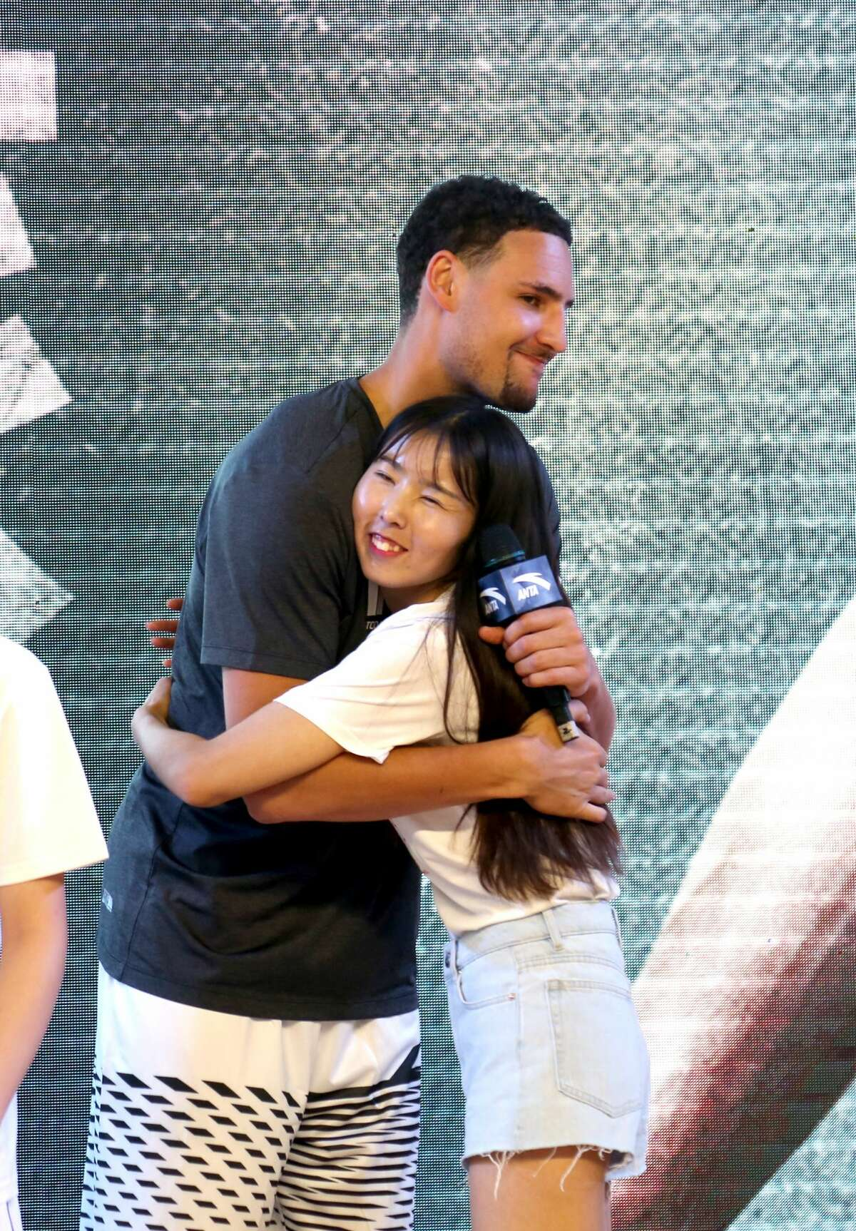 NBA player Klay Thompson of the Golden State Warriors meets fans at Happy Family Mall on June 26, 2017 in Shenyang, China.