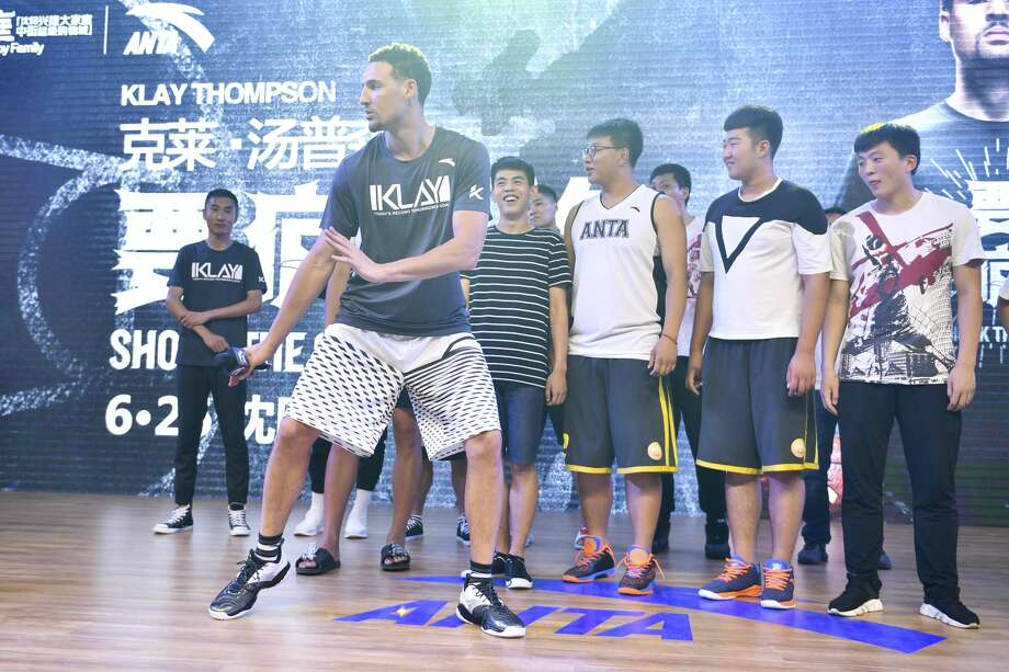 NBA player Klay Thompson of the Golden State Warriors meets fans at Happy Family Mall on June 26, 2017 in Shenyang, China. Photo: VCG/VCG Via Getty Images