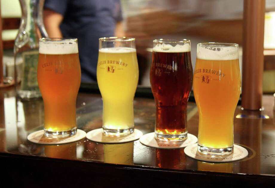 The current range of Celis beers on the bar at the brewery's taproom. The two center beers, the wit and pale bock, were a part of the original 1990s Celis brewery lineup. Photo: Markus Haas / San Antonio Express-News / San Antonio Express-News