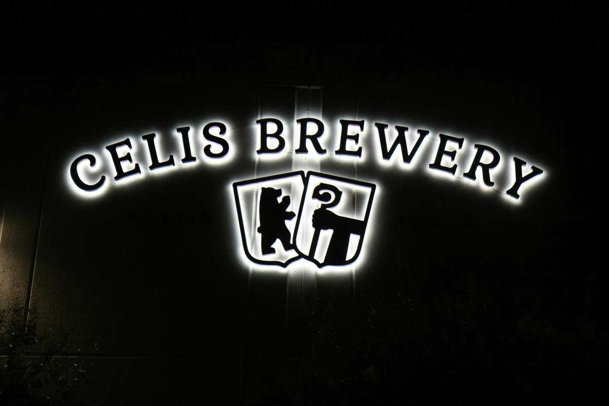 The Celis Brewery logo glows on the side of their building, located at 10001 Metric Drive in Austin.