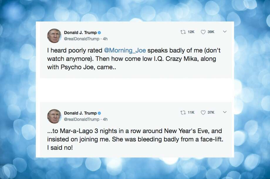 "President Donald Trump took to Twitter on Thursday, June 29, 2017 to attack MSBC ""Morning Joe"" hosts Mika Brzezinski and Joe Scarborough. Click through the images to see some of the reaction on Twitter. Photo: Screenshot Via Twitter"