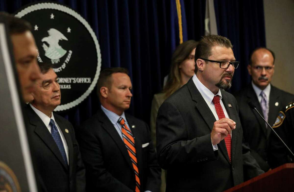 Sean McElroy, deputy special agent in charge with Immigration and Customs Enforcement, speaks during a press conference to announce a multi-agency initiative to combat violent crime in Houston, Thursday, June 29, 2017, in Houston.