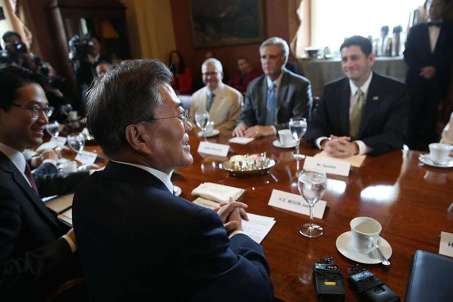 President Moon Jae-in meets with Speaker of the House Paul Ryan and other legislators. Photo: Win McNamee, Getty Images