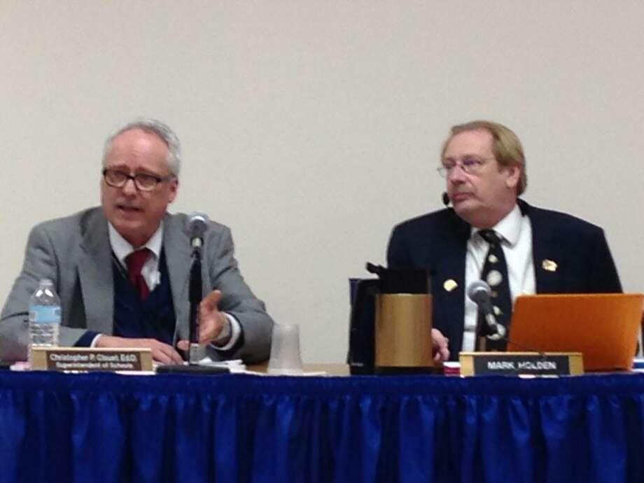 Shelton Schools Superintendent Chris Clouet and Board Chairman Mark Holden Photo: Linda C. Lambeck / Linda Lambeck