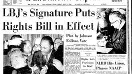 Front page of July 3, 1964 San Antonio Express: LBJ's Signature Puts Rights Bill in Effect