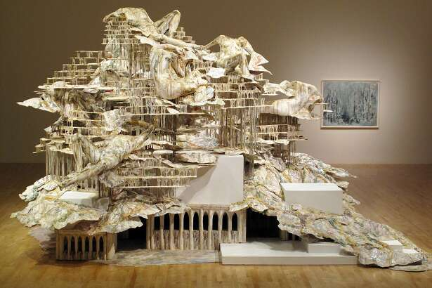 """Diana Al-Hadid, """"Nolli's Orders,"""" 2012. Steel, polymer gypsum, fiberglass, wood, foam, plaster, aluminum foil, and pigment. 156 � 264 � 228 inches. Courtesy of the artist and Marianne Boesky Gallery. Installation view, San Jose Museum of Art, February 24 - September 24, 2017"""