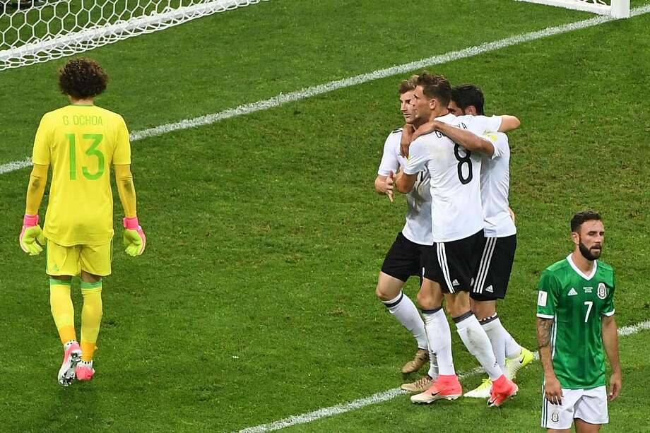 Germany forward Timo Werner (second from left) celebrates with teammates after scoring on Mexico goalkeeper Guillermo Ochoa during a Confederations Cup semifinal. Photo: PATRIK STOLLARZ, AFP/Getty Images