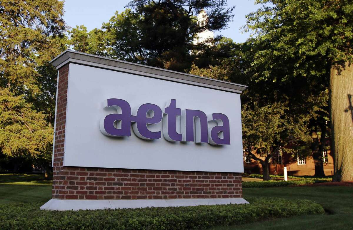 A sign stands on the campus of the Aetna headquarters, Thursday, June 1, 2017, in Hartford, Conn.