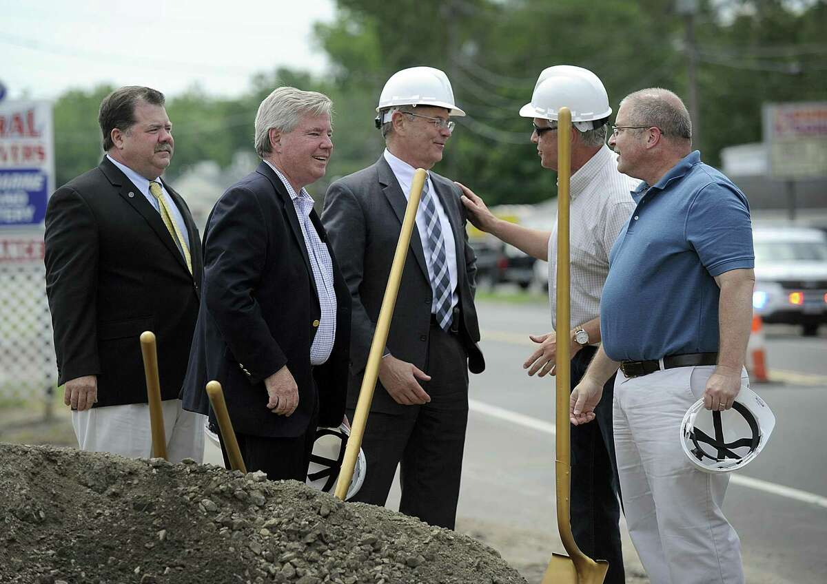 Chatting together after an official groundbreaking for the streetscape project at the Brookfield Four Corners, Thursday, June 29, 2017, are from left, Selectman Martin Flynn, First Selectman Stephen Dunn, State Commissioner of Transportation James P. Redeker, Greg Dembowski, streetscape project manager and Bob Brinton with the Western CT Council of Governments, Thursday, June 29, 2017.