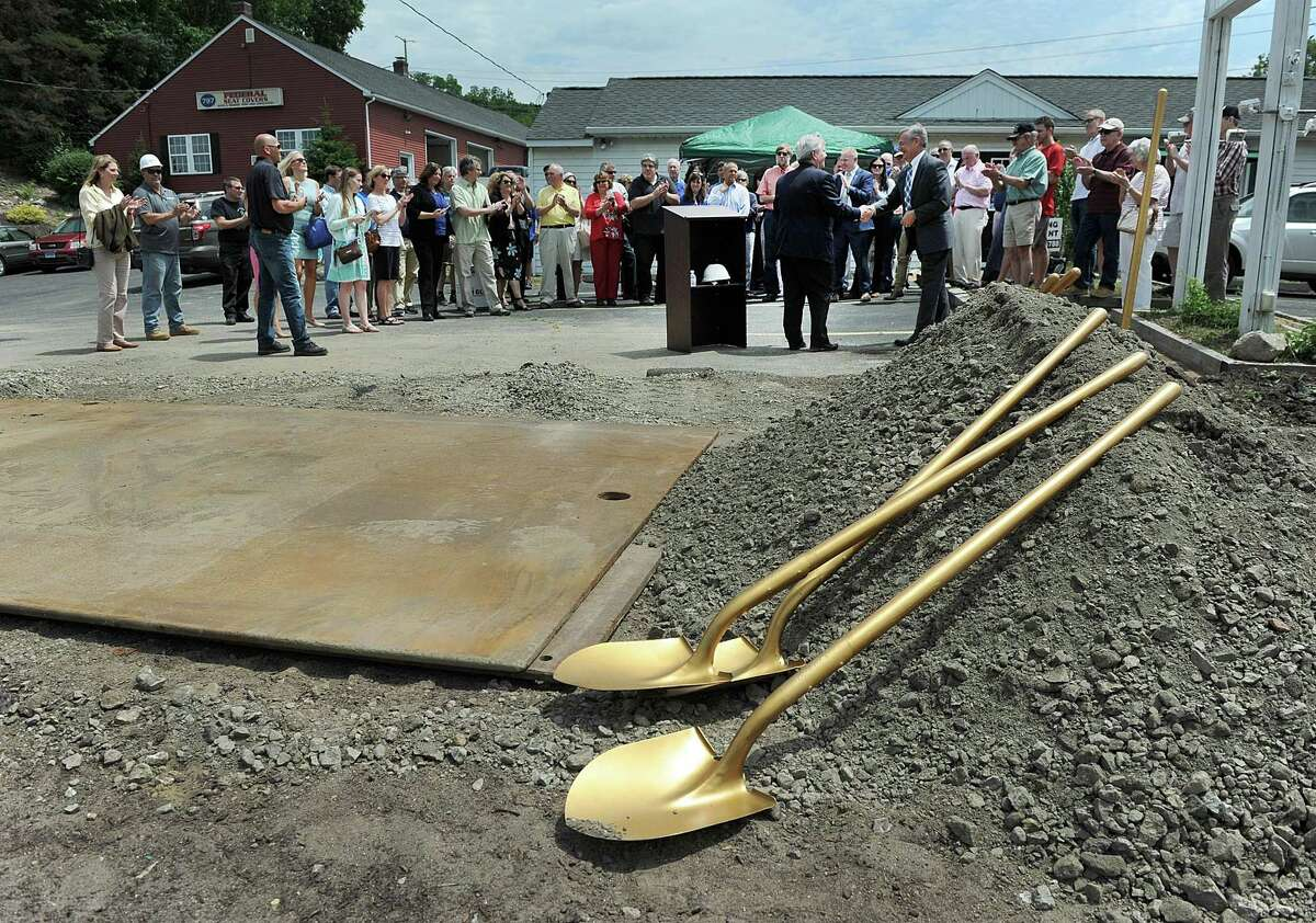 Officials and residents gather for an official groundbreaking ceremony for the Brookfield Four Corners streetscape project, Thursday, June 29, 2017.