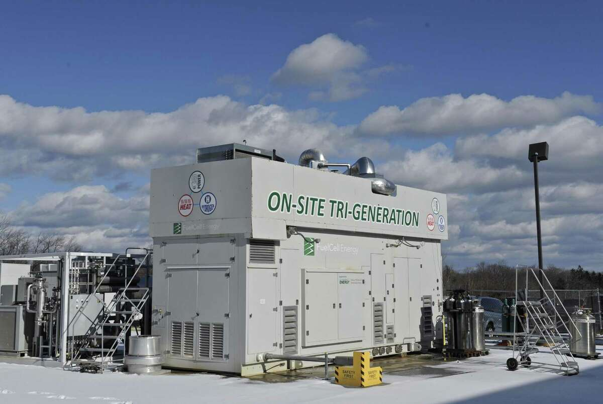 A Tri-Generation fuel cell used at the FuelCell Energy manufacturing plant in Torrington, Conn. February 1, 2017. The unit, which uses one fuel cell stack, provides electricity, heat and hydrogen.