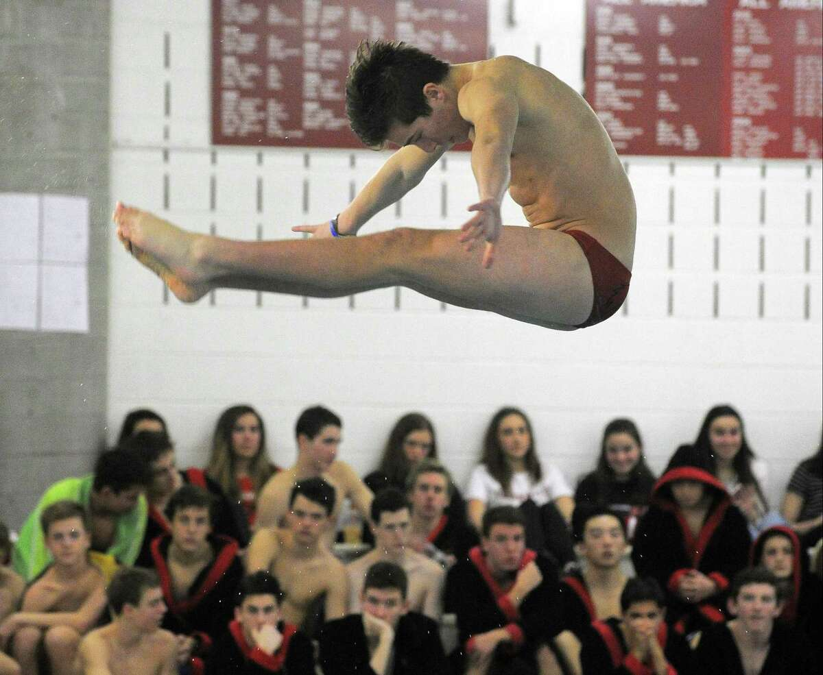 Greenwich Justin Sodokoff compete in the Diving Event in a non conference boys swim meet against Fairfield Prep at Greenwich High School on Jan. 28, 2017. Fairfield Prep defeated Greenwich 98-88.