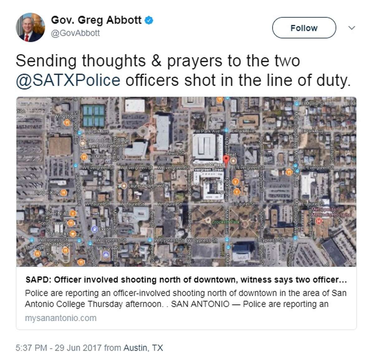 """Governor Greg Abbott: """"Sending thoughts & prayers to the two @SATXPolice officers shot in the line of duty."""""""