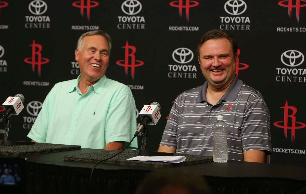 Rockets head coach Mike D'Antoni and general manager Daryl Morey joke as they talk about the series of trades made to bring Chris Paul to the Rockets from the Clippers during a press conference at Toyota Center, Wednesday, June 28, 2017, in Houston.