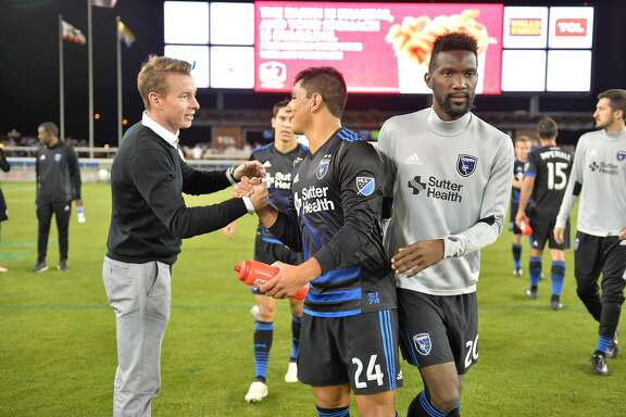 The San Jose Quakes' new Head Coach Chris Leitch (left) has a word with defender Nick Lima after the Quakes'  2-1 win over Seattle Sounders FC which was Leitch's first game as head coach on Wednesday June 28, 2017 in San Jose Calif.
