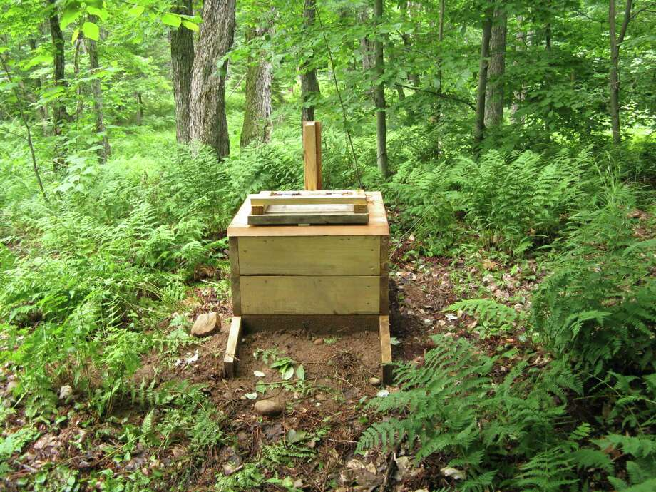 A box toilet along the Cranberry Lake 50 long-distance hiking trail in 2009. The trail is located just out of the picture to the right. (Gillian Scott / Special to the Times Union)