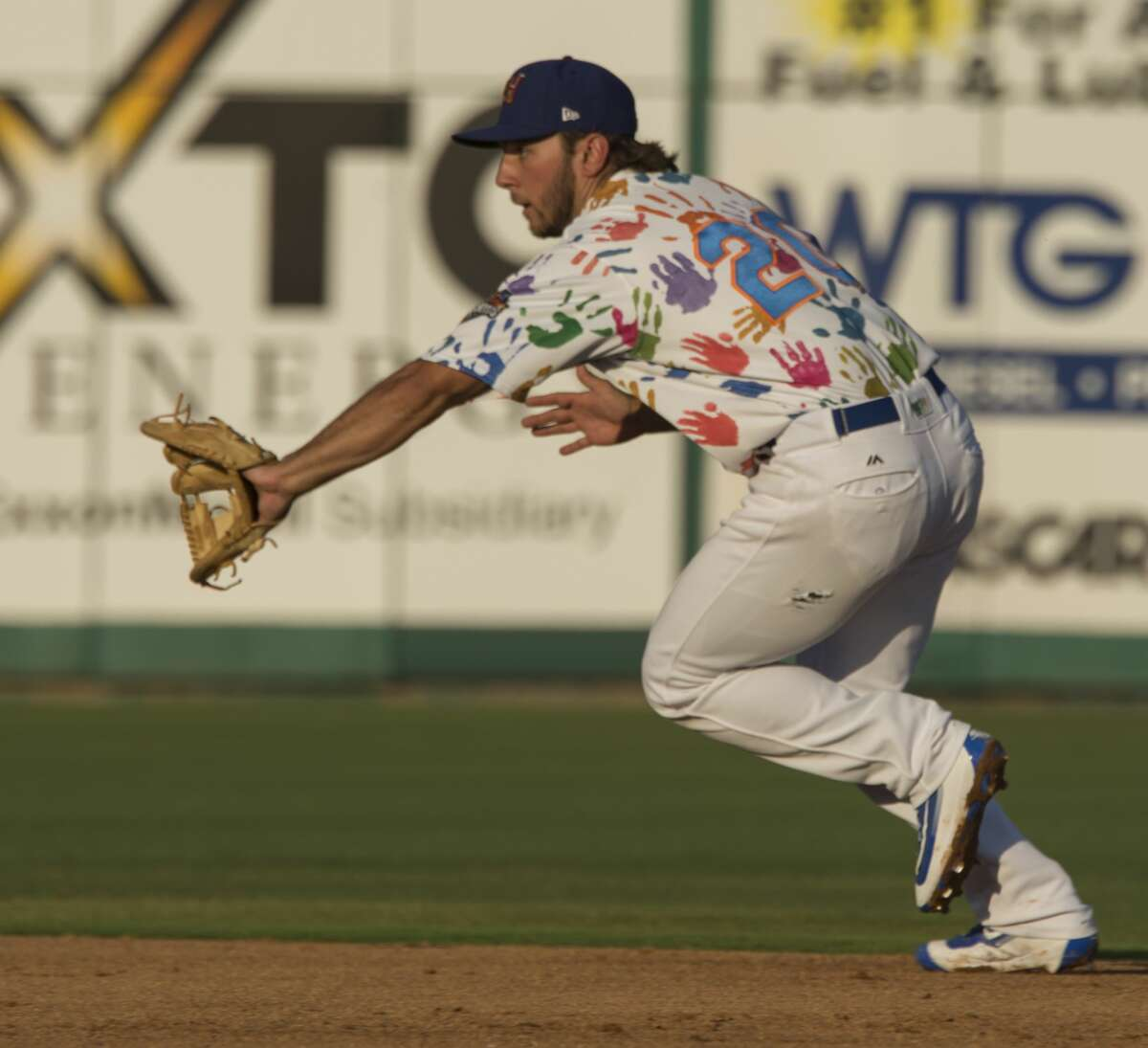 RockHounds second baseman Max Schrock goes after a hit up the middle 6/29/17 against the Springfield Cardinals at Security Bank Ballpark. Tim Fischer/Reporter-Telegram