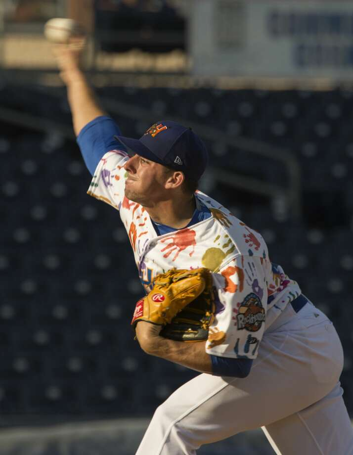 RockHounds' starting pitcher Heath Fillmyer delivers a pitch 6/29/17 against the Springfield Cardinals at Security Bank Ballpark. Tim Fischer/Reporter-Telegram Photo: Tim Fischer/Midland Reporter-Telegram