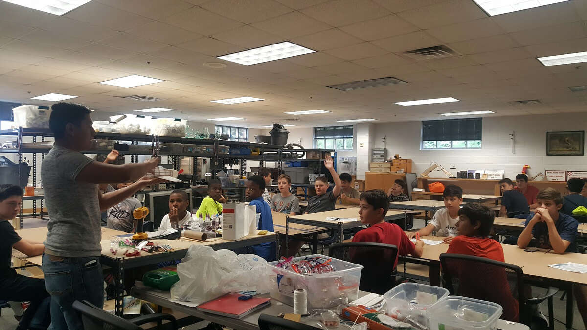 Seventh and eighth grade students learn about technology, engineering and aerospaceduring an Humble ISD CATE Center summer camp on Wednesday, June 28.