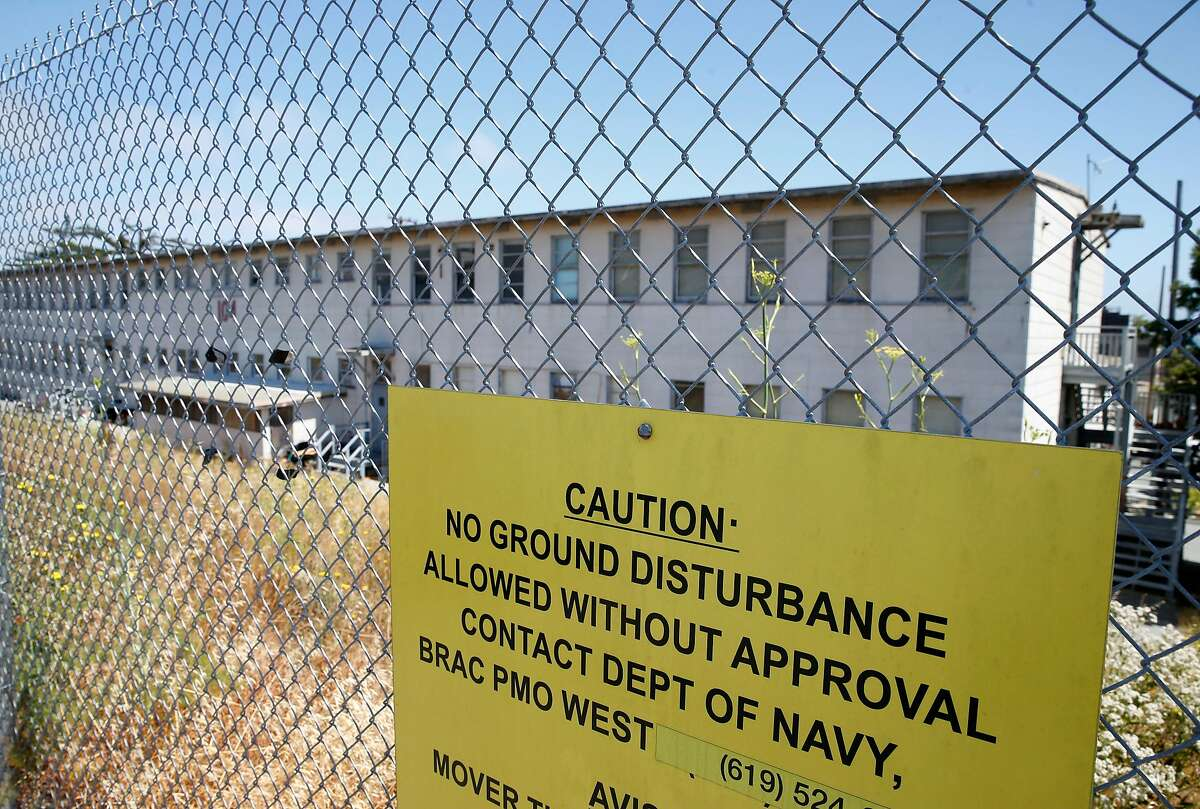 A sign cautions against unauthorized excavation at the former Hunters Point Naval Shipyard in San Francisco, Calif. on Thursday, June 29, 2017. Former employees of Tetra Tech, the firm hired to cleanup contaminated radioactive soil, allege that Tetra Tech took fake soil samples and falsified test results.