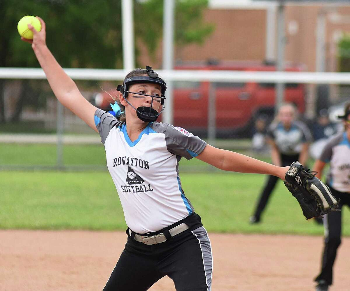 Rowayton pitcher Izzy White fires a pitch to the plate during Thursday night's District 1 Little League softball pool play finale at Brien McMahon High School in Norwalk. Rowayton defeated Wilton 14-4.
