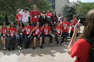 University of Houston incoming students pose for a photo during an orientation on campus on  Tuesday, June 13, 2017, in Houston.