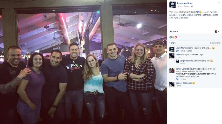 "A tribute on social media to San Antonio Police officer Miguel Moreno, 32, who was shot and killed:Leigh Martinez via Facebook: ""The crew at Central B-Shift"" (Moreno pictured center, wearing Spurs shirt) Photo: Facebook.com"