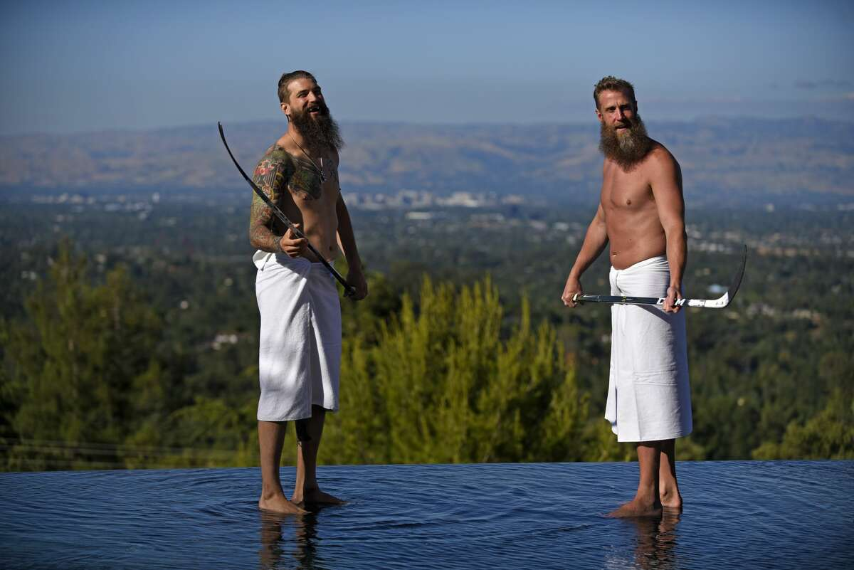 Joe Thornton and Brent Burns are photographed by photographer Ramona Rosales in Los Gatos, California on Thursday, May 25, 2017. Photo by Eric Lutzens