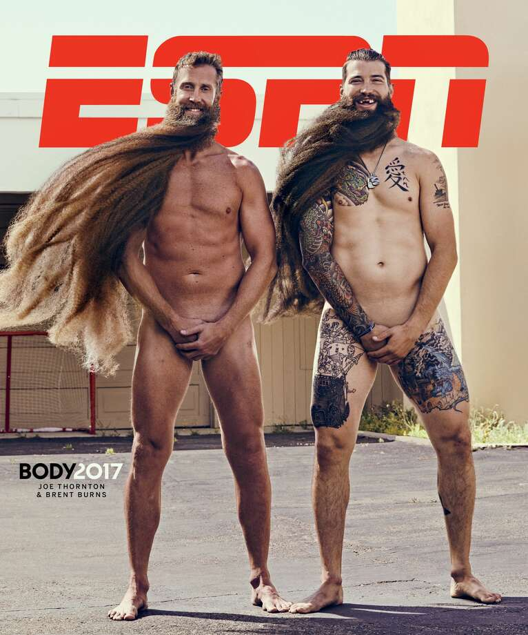 Joe Thornton and Brent Burns on the cover of ESPN's The Body Issue in 2017. Photo: Ramona Rosales
