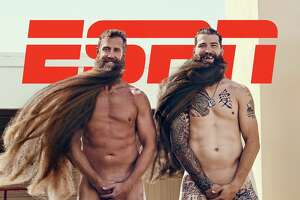 Joe Thornton and Brent Burns on the cover of ESPN's The Body Issue in 2017.