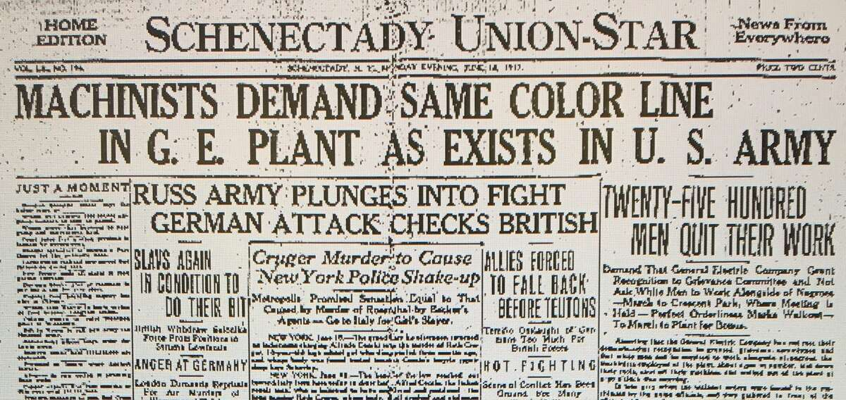 Headline on 1917 GE strike from Schenectady Union-Star.