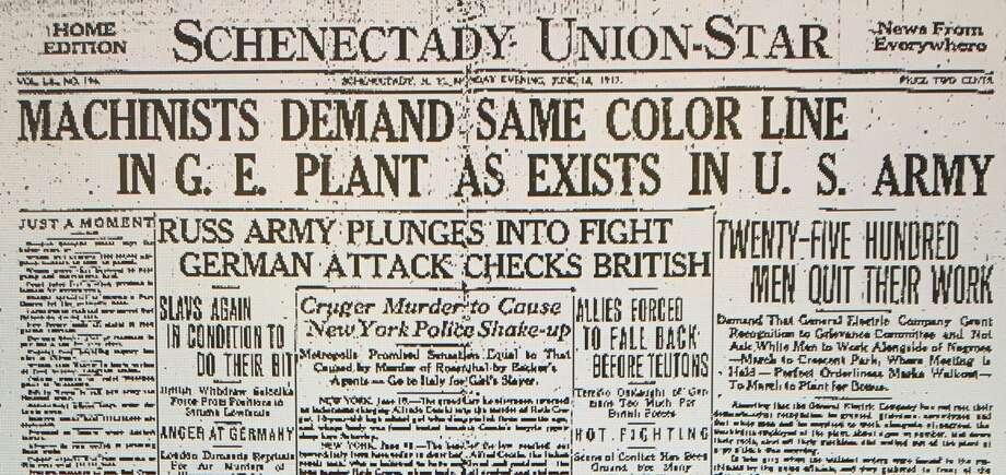Headline on 1917 GE strike from Schenectady Union-Star.