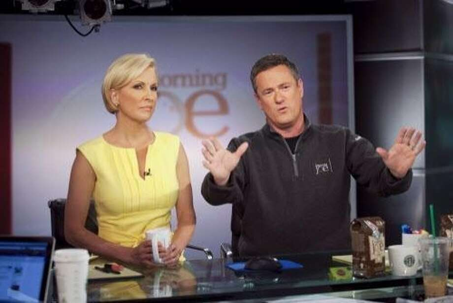 "FILE -- Joe Scarborough, right, and Mika Brzezinski host MSNBC's ""Morning Joe"" at NBC Studios in New York on April 14, 2010. President Donald Trump on June 29, 2017, assailed Brzezinski in unusually personal and vulgar terms, the latest of a string of escalating attacks by the president on the national news media. Shortly before 9 a.m., as BrzezinskiÕs MSNBC show ÒMorning JoeÓ was ending, Trump used Twitter to taunt Ms. Brzezinski and her co-host, Joe Scarborough, referring to them as Òlow I.Q. Crazy Mika, along with Psycho Joe.Ó (Michael Nagle/The New York Times) Photo: MICHAEL NAGLE, NYT"