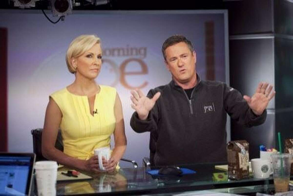 """FILE -- Joe Scarborough, right, and Mika Brzezinski host MSNBC's """"Morning Joe"""" at NBC Studios in New York on April 14, 2010. President Donald Trump on June 29, 2017, assailed Brzezinski in unusually personal and vulgar terms, the latest of a string of escalating attacks by the president on the national news media. Shortly before 9 a.m., as Brzezinski?•s MSNBC show ?'Morning Joe?"""" was ending, Trump used Twitter to taunt Ms. Brzezinski and her co-host, Joe Scarborough, referring to them as ?'low I.Q. Crazy Mika, along with Psycho Joe.?"""" (Michael Nagle/The New York Times)"""