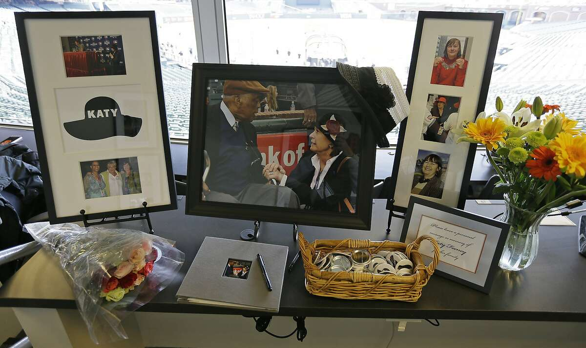 A tribute to Katy Feeney, a longtime executive of Major League Baseball, is seen in the press box of AT&T Park before the start of a baseball game between the San Francisco Giants and the Arizona Diamondbacks Monday, April 10, 2017, in San Francisco. Fenney, who retired in December, died on April 1 and was 68. She was the daughter of the late Giants general manager and National League President Chub Feeney. (AP Photo/Eric Risberg)