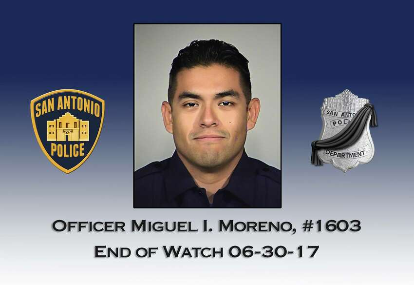 Miguel Moreno San Antonio Police officer Miguel Moreno died June 30, 2017, a day after he was shot in the line of duty. He was 32.