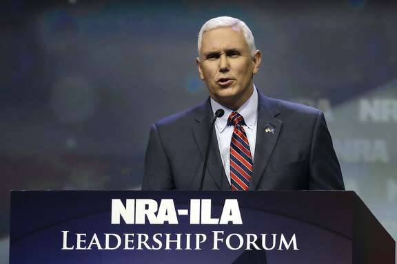 Indiana Gov. Mike Pence speaks at the National Rifle Association convention Friday, May 20, 2016, in Louisville, Ky. (AP Photo/Mark Humphrey)